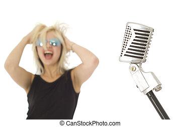 s�nger, rockender, Mikrophon,  retro