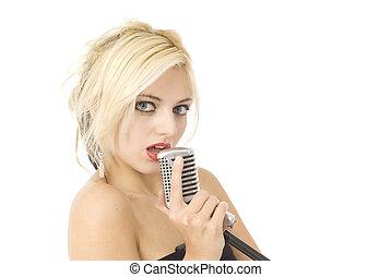 s�nger, und, mikrophon