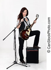 s�ngerin, mit, gitarre