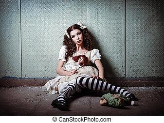 só, abandonado, estranho, lugar, retrato, menina, bonecas
