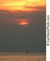 só, bote, tailandia, pôr do sol, mar