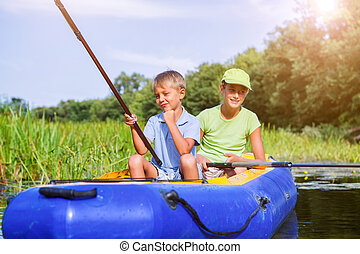 só, criança pequena, pesca, ligado, rio