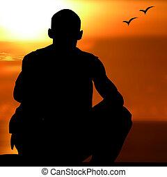 só, meditação, zen, um, homem