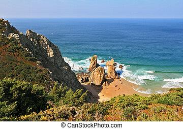 só, pitoresco, pedras, oceano atlântico, praia
