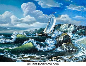só, recipiente velejando, em, a, fazendo temporal, mar