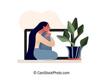 só, sentando menina, deprimido, triste, floor.