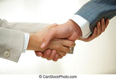 sócios, aperto mão