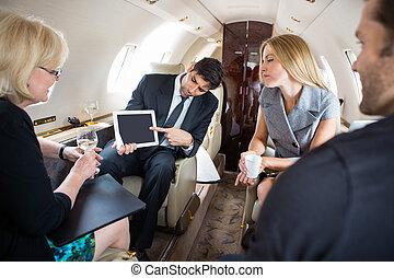 sócios, avião, reunião, privado, negócio