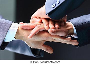 sócios, close-up, negócio, pilha, mãos, fazer, reunião
