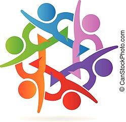 sócios, conceito, comunidade, unidade, trabalho equipe, logo.