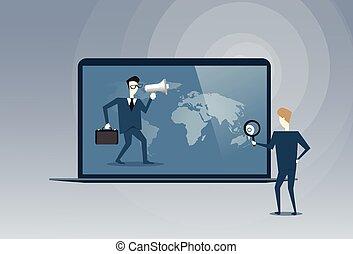 sócios, conceito, pessoas negócio, laptop, virtual, falando, computador, cooperação, digital, usando, reunião