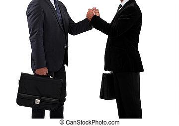 sócios, handshaking, negócio