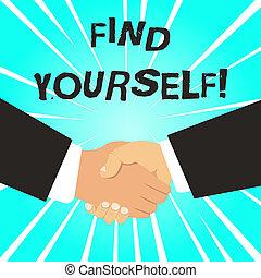 sócios, macho, suits., negócio, coisas, foto, mostrando, você mesmo, nota, yourself., selfsufficient, agitação mão, showcasing, tornar-se, multiracial, escrita, achar, formal