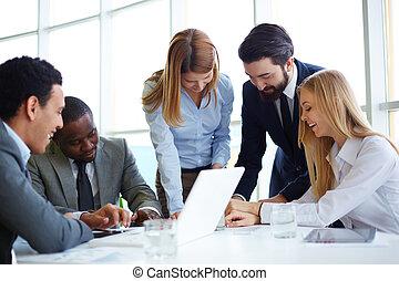 sócios, negócio, comunicar