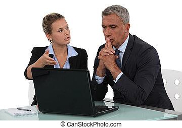 sócios negócio, fazer, decisões