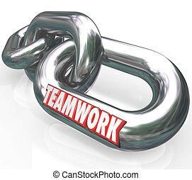 sócios, palavra, corrente liga, conectado, trabalho equipe ...