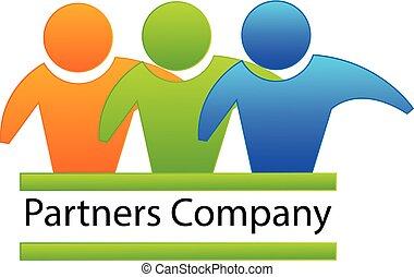 sócios, pessoas negócio, logotipo