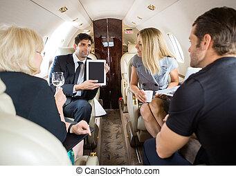 sócios, privado, reunião, jato, negócio