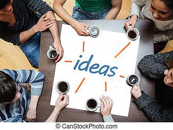 sócios, sobre, brainstorming, poste