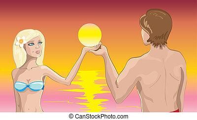 sóis, par, praia, amor