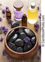 sól, kamienie, zdrój, lawendowy olej