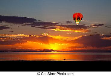 sól, wielki, zachód słońca, jezioro, barwny