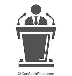 sólido, ícone, orador, tribuna, negócio