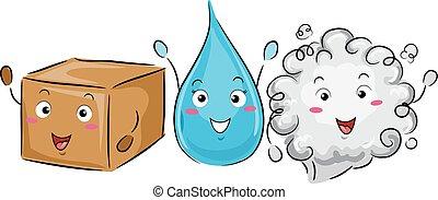 sólido, ciência, gás, líquido, mascote