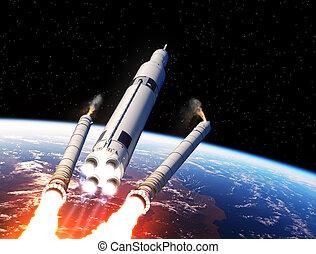 sólido, encima, sistema, lanzamiento, cohete, separación, boosters, espacio, tierra