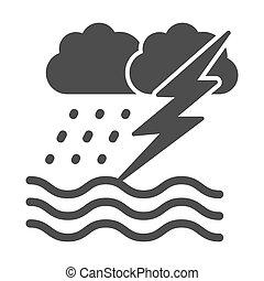 sólido, lluvia, océano, plano de fondo, icono, glyph, blanco...