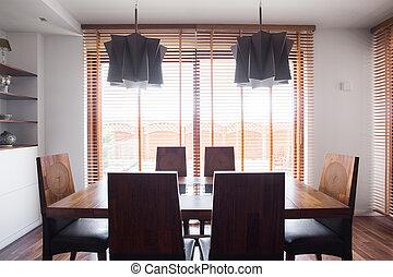 sólido, madeira, jantando tabela