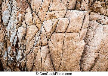 sólido, pedra calcária, rocha, textura, com, muliple, rachas
