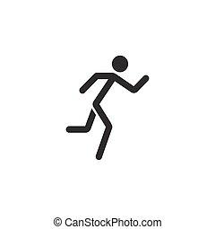 sólido, rapidamente, executando, condicão física, ícone, desporto, homem