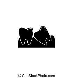 sólido, sabedoria, ícone, dentes