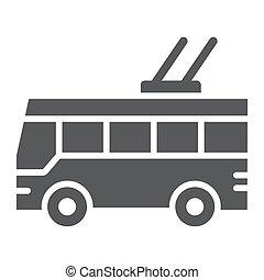sólido, sinal, trolleybus, experiência., vetorial, tráfego, padrão, gráficos, ícone, público, branca, transporte, glyph