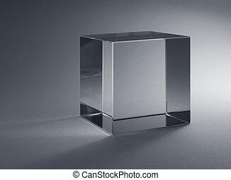 sólido, vidrio, cubo