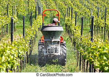 sólo, esparcimiento, excremento, viña, framer, tractor