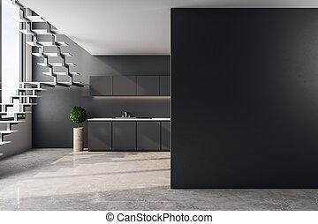 sótão, contemporâneo, copyspace, cozinha