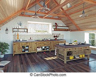 sótão, cozinha