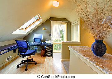 sótão, cozy, escritório lar