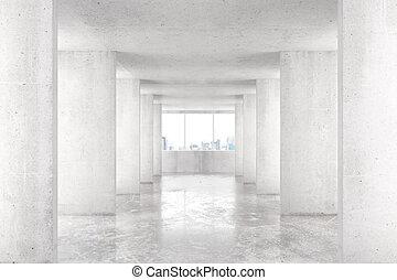 sótão, estilo, túnel, com, muitos, paredes, em, luz, vazio, predios, com, grande, janela, e, vista cidade