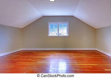 sótão, hardwood, pequeno, sala, chão
