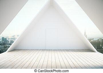 sótão, interior, luz, chão madeira