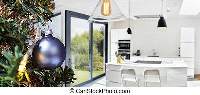 sótão, modernos, árvore, feliz, abertos, natal, cozinha