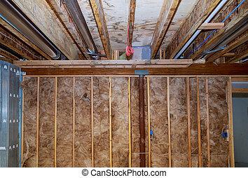 sótano, aislamiento, fibra de vidrio, barrera, interior, pared, frío, material