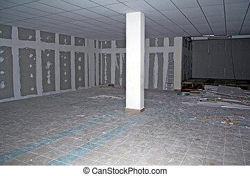 sótano, construcción, debajo