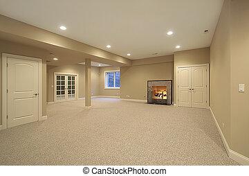 sótano, en, nuevo, construcción, hogar