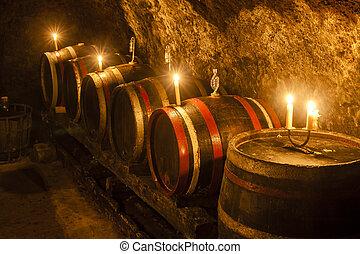 sótano, velka, tokaj, trna, región, eslovaquia, vino