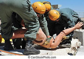 sökande och räddning, genom, byggnad, stenskärv, efter, a, katastrof
