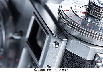 sökare, gammal, kamera.